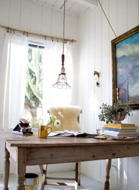 a neutral home office design in rustic style