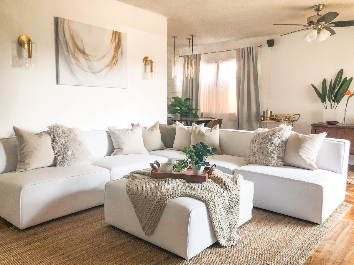 How Ajai Transformed Her Parent's Dark And Cluttered Living Room Into Their Dream Minimalist Mid-Century Glam Oasis Best Children's Lighting & Home Decor Online Store