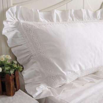 White 100% Cotton Lace Ruffle Pillow Case