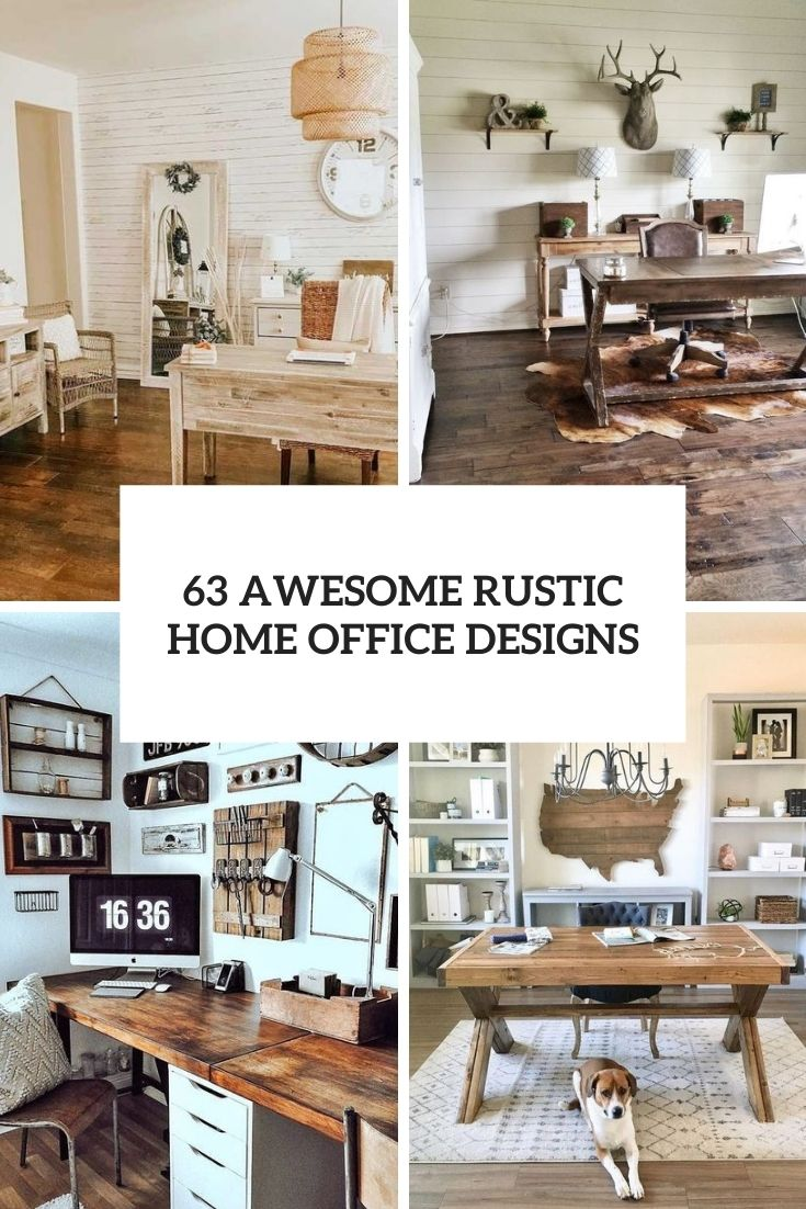 awesome rustic home office designs cover