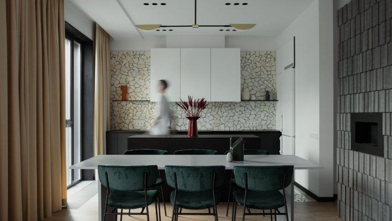 This contemporary apartment in Minsk is done in a subdued color palette