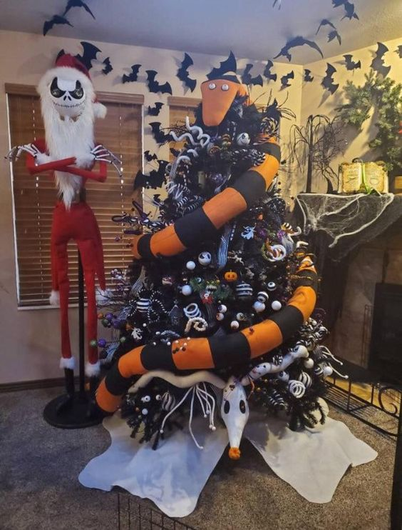 A Scary Tree Eating Snake From Nightmare Before Christmas, With Black And White Ornaments, Curls, Twigs And Skeleton Bones Is Bold