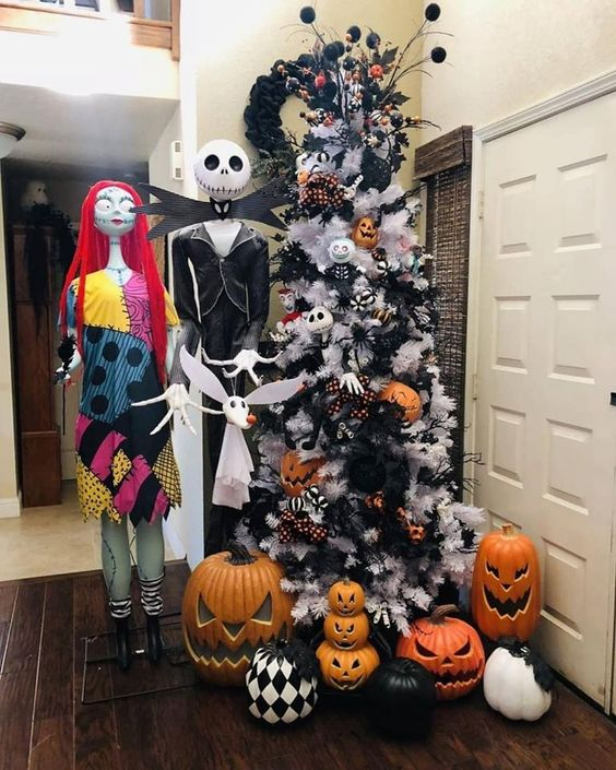 A White Christmas Tree Decorated With Halloween Pumpkins, Black Branches And Eyeballs, Bats And Other Stuff Can Be A Fit For Halloween, Too