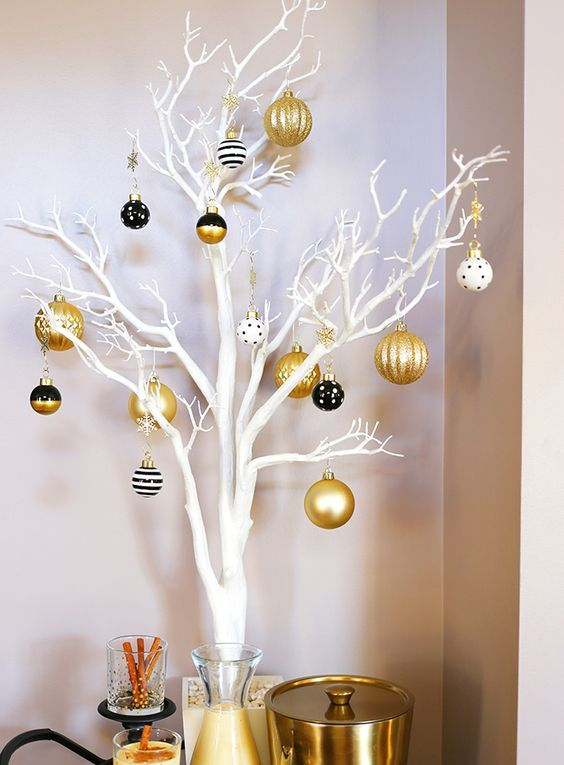 White Branches And Black, White And Gold Christmas Ornaments With Various Patterns Is A Lovely Idea For Holidays