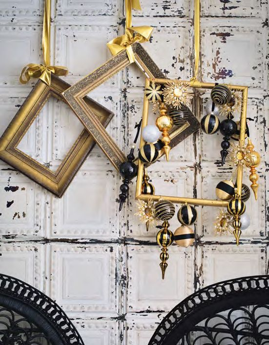 Vintage Gilded Frames Including One With Gold And Black Ornaments Hanging For Lovely Christmas Decor And A Bold Touch