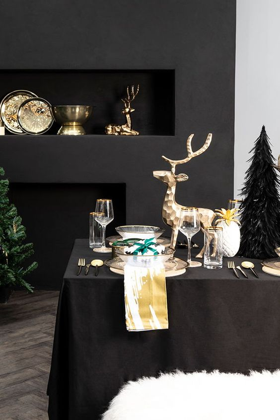 Luxurious Christmas Styling With Gold Bowls And Dishes, Gold Deer And Gold Rimmed Glasses And Chargers Is Amazing