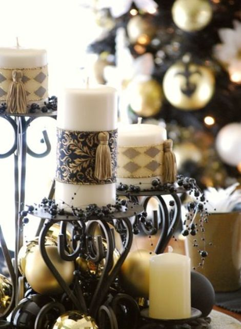 Exquisite Vintage Christmas Decor - Black Candelabras, Gold Ornaments, Black Beads And Candles Wrapped With Chic Pieces And Tassels Is Lovely