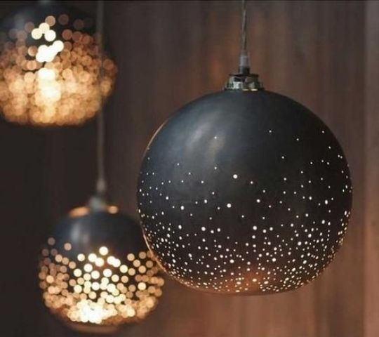 Cool Black And Gold Perforated Pendant Lamps Are A Lovely Idea For Any Space And They Will Make Your Space Look Festive And Very Refined