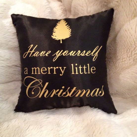 A Black And Gold Pillow Decorated For Christmas Is A Lovely And Chic Piece For Holidays, You Can Make It Yourself