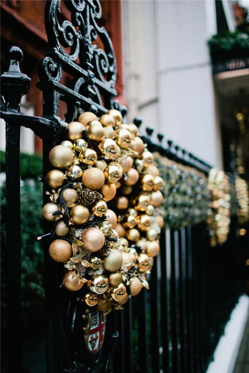 Make Gold Ornament And Pinecone Christmas Wreaths And Hang Them Outside To Add A Refined Holiday Touch To Your Outdoor Spaces