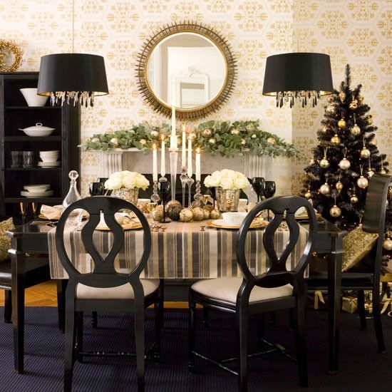 A Refined And Chic Christmas Tablescape With White Blooms, Black Glasses And A Black Christmas Tree With Lights And Gold Ornaments Is Ultimate Chic And Boldness You Can Enjoy