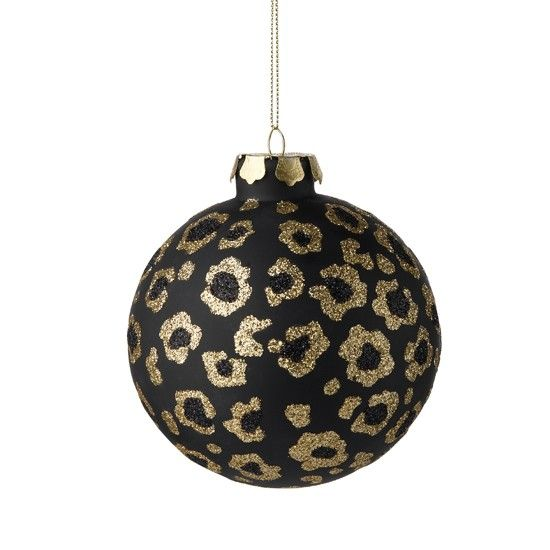 A Refined Black And Gold Glitter Floral Christmas Ornament Will Make Your Decor Very Special And Very Bold