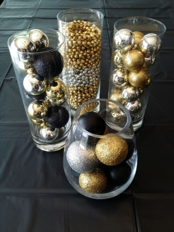 Glass Vases And Bowl With Assorted Silver, Gold And Black Christmas Ornaments, Matte, Glitter And Glossy Ones Is A Great Decoration Itself