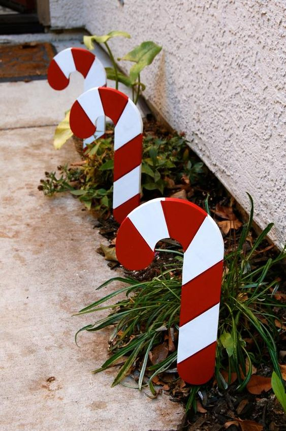 cool outdoor holiday decor - growing greenery accented with candy canes looks very bright and very cool
