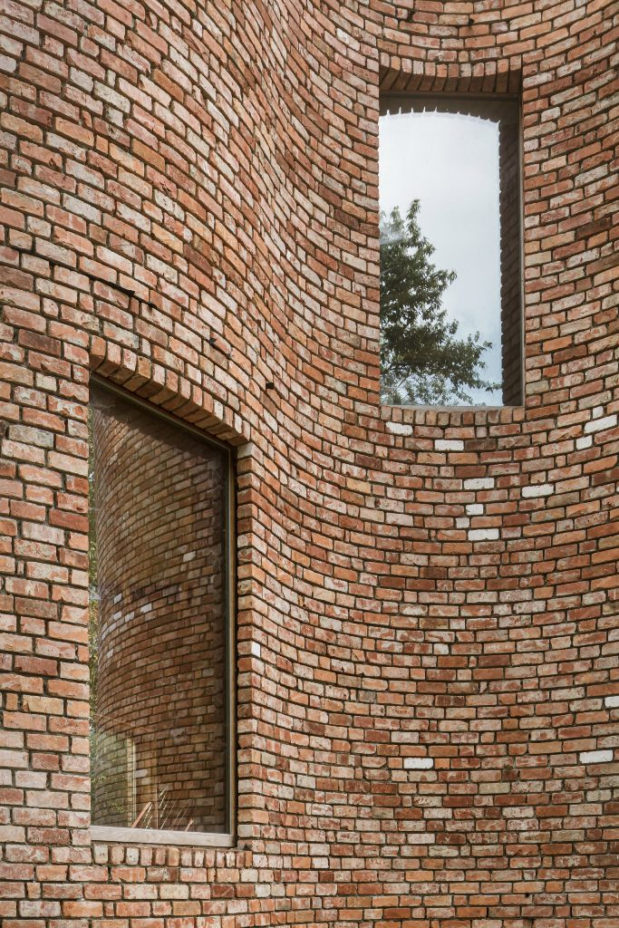 Reclaimed bricks were used for sustainability