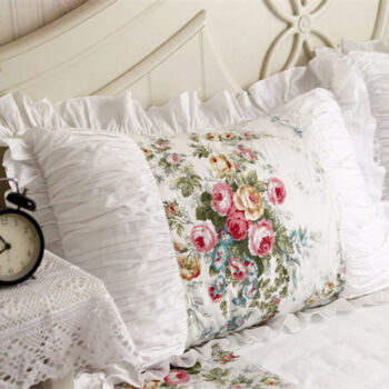 Handmade Embroidered Ruffle Lace Pillowcase