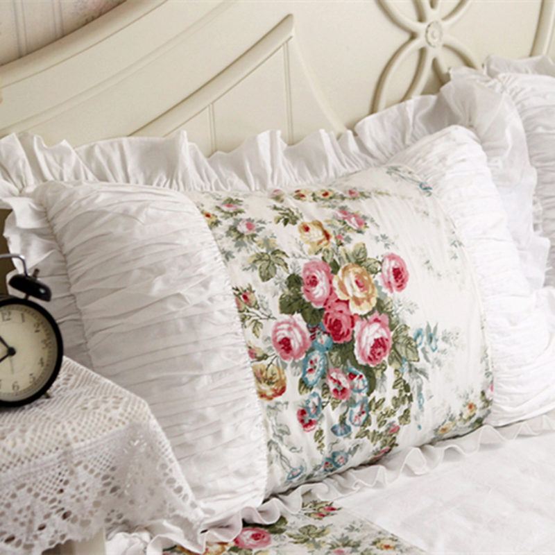 Handmade Embroidered Ruffle Lace Pillowcase