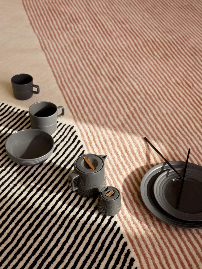 rug and dinnerware