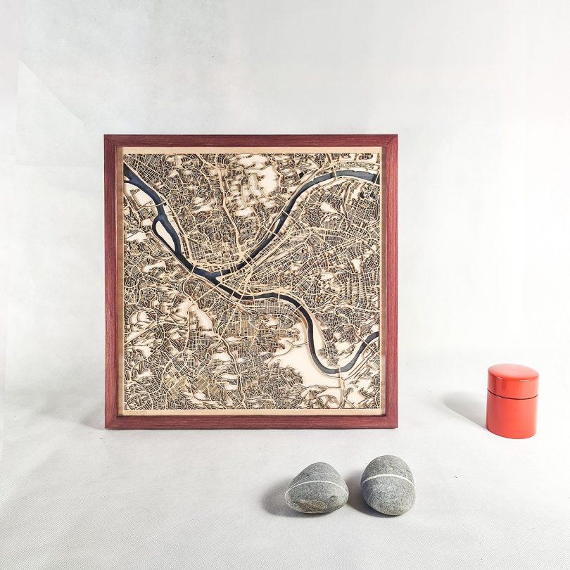framed wooden map