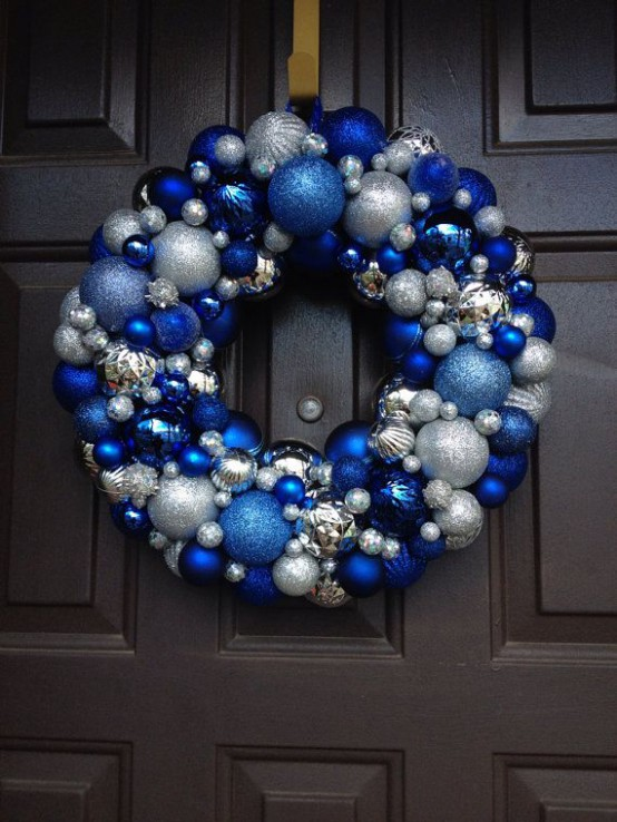 a bright Christmas wreath of ornaments - blue, electric blue and silver ones is a bright and cool idea for a frozen feel