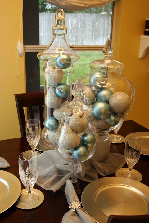 jars with blue and silver ornaments will make up a lovely Christmas centerpiece or a decoration, make it easily