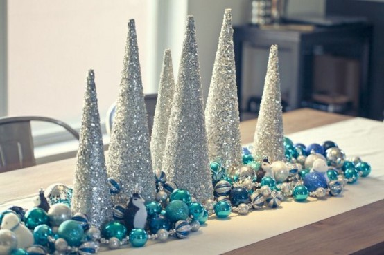 a simple yet cute christmas centerpiece made of tabletop trees