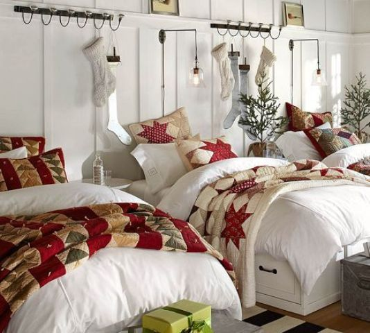 bright star printed bedding, stockings and mini Christmas trees will make your kids' room very cozy and holiday-like