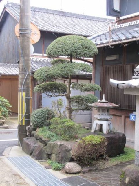 some rocks, traditional Japanese cut trees, a stone Japanese lantern, shrubs and greenery for a lovely and chic look