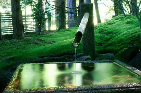grass and a large stone square fountain traditional for Japan will make up a cool and relaxed Japanese garden