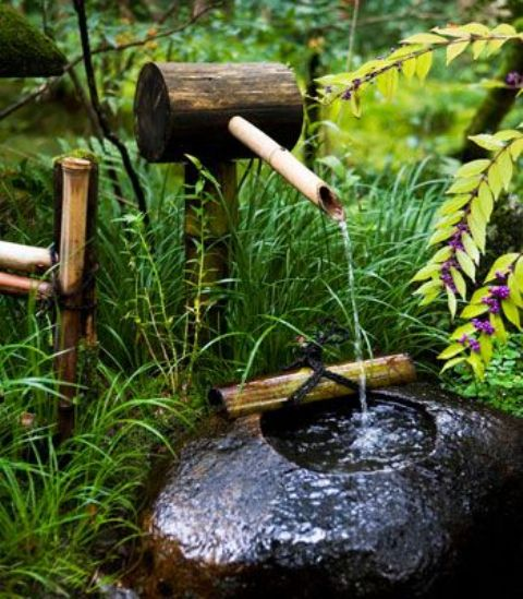 grasses, blooming plants, a bamboo and stone fountain make up a chic and cool Japanese front yard