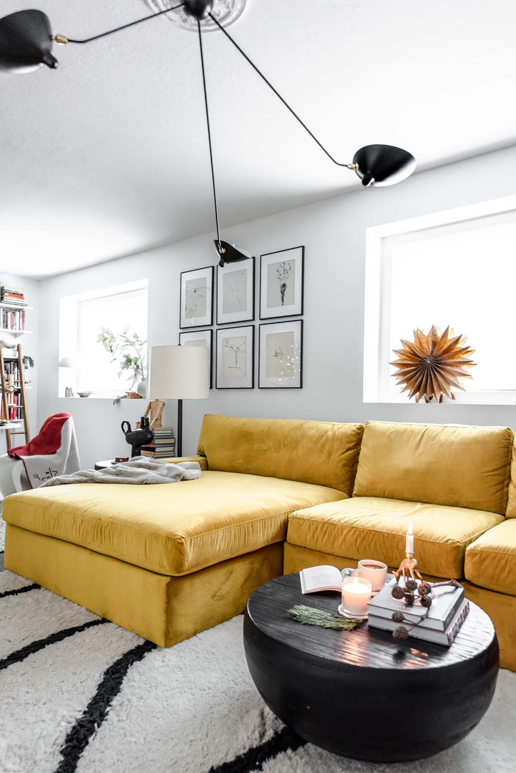 Lea Johnson's Basement Reveal: Workspace by Day and Family-Friendly Living Room by Night Best Children's Lighting & Home Decor Online Store