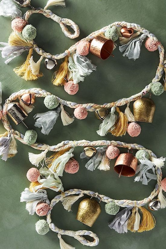 A Gorgeous Garland Of Pastel Pompoms, Vintage And Usual Bells And Tassels For A Christmas Tree Or Some Space