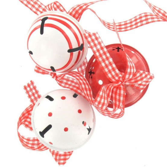 Printed Red And White Bells On Plaid Ribbons Can Compose A Lovely Christmas Hanging Or Decoration Or You May Use Them As Ornaments