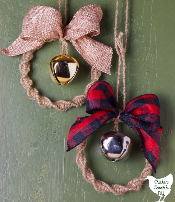 Cute Christmas Ornaments With Knit, Burlap And Plaid Bows And Large Bells Can Be Diyed By You Yourself