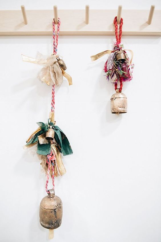 Vintage Christmas Bells With Bright Bows And Pieces Of Fabric Can Accent Many Spaces Of Your Home