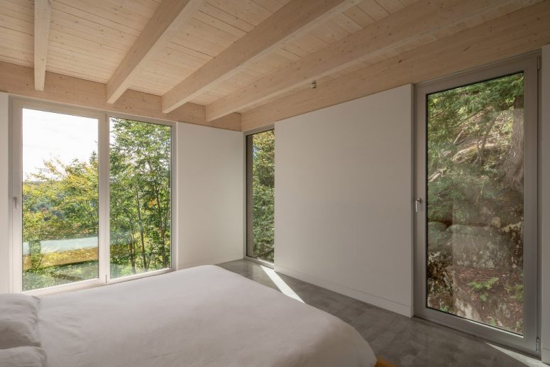 Surrounding trees give privacy to the master bedroom
