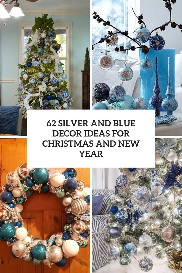 silver and blue decor ideas for christmas and new year cover