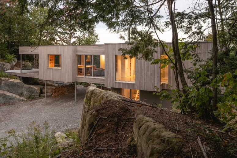 This contemporary forest house in Canada is built on three meter stilts