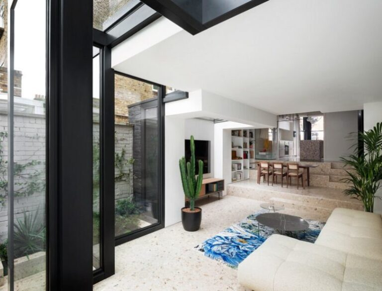 This stylish contemporary house extension was created for a Victorian terraced house and features cool materials and textures