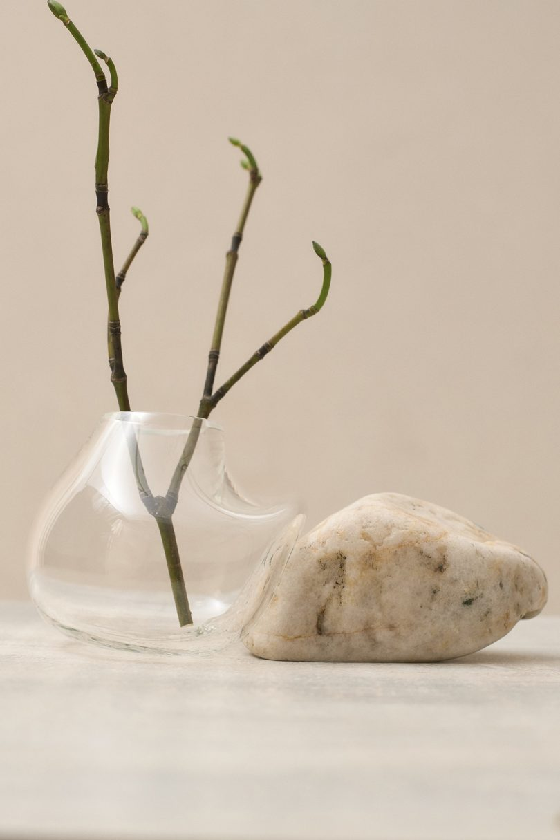 glass vessel and rock
