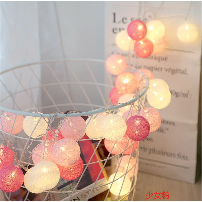 LED String Lights Cotton Balls Garland Beads-20 Best Children's Lighting & Home Decor Online Store