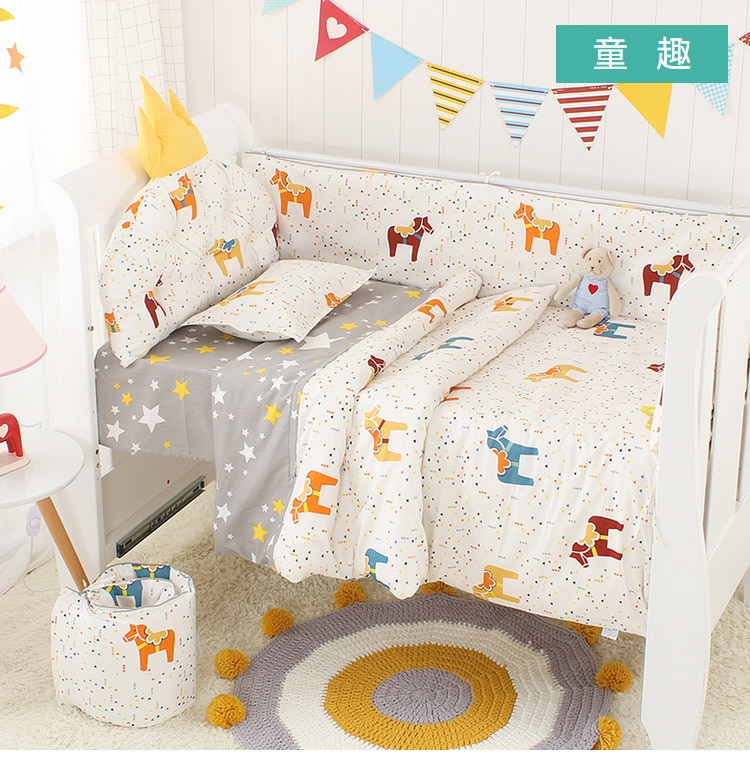 Nordic Crown Cushion Baby Bed Bedding Kit -5pcs Best Children's Lighting & Home Decor Online Store