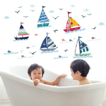 Cartoon Sailboat With Sea View Wall Sticker Best Children's Lighting & Home Decor Online Store