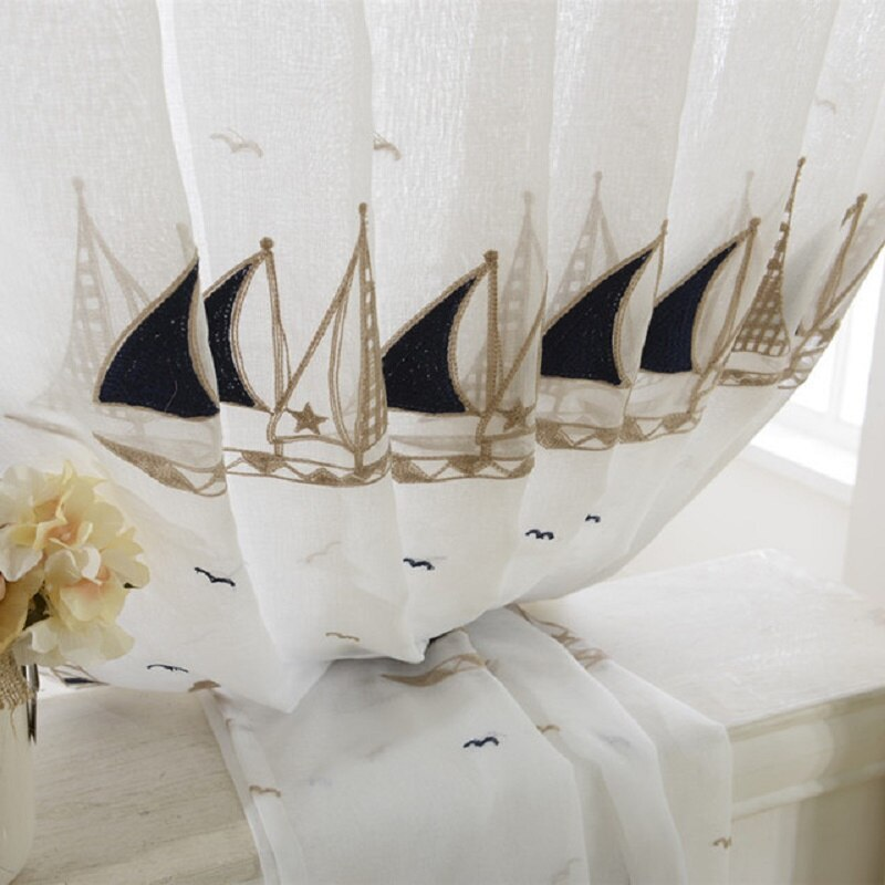 Embroidered Sailboat Tulle Window Curtain Best Children's Lighting & Home Decor Online Store