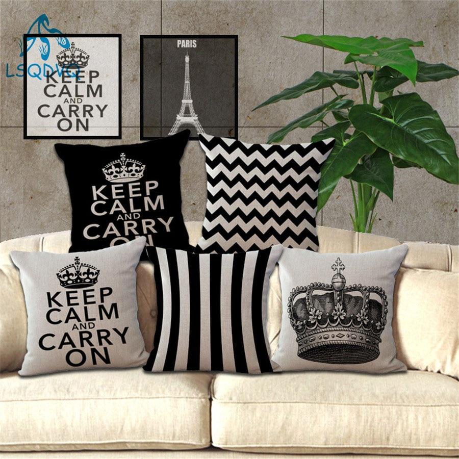 Keep Calm Carry On Cotton Linen Eiffel Tower Pillow Cover Best Children's Lighting & Home Decor Online Store