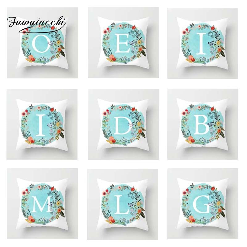 Blue Floral A-Z Letter Cushion Cover Best Children's Lighting & Home Decor Online Store