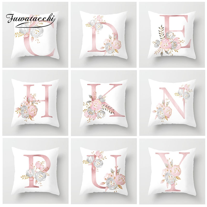 Pink Flower Printed English Alphabet Cushion Cover