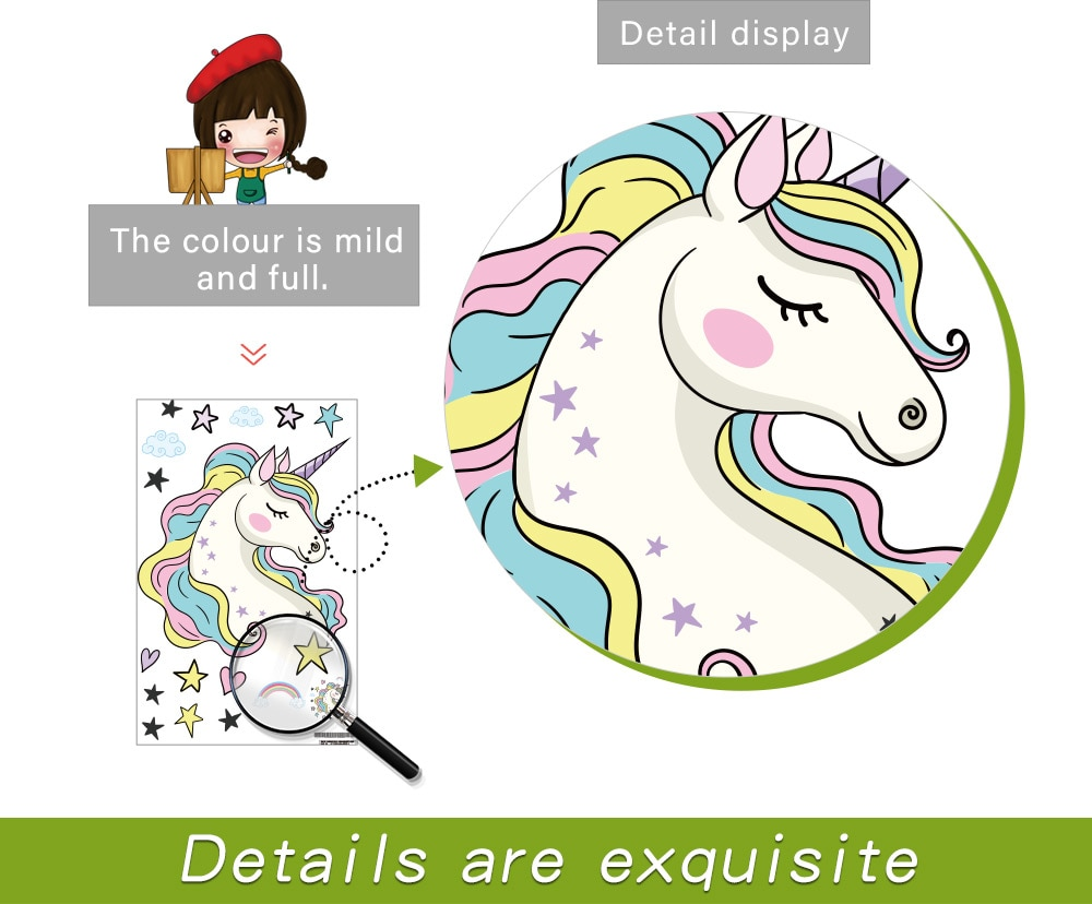 Removable Unicorn Wall Decals Stickers Decor