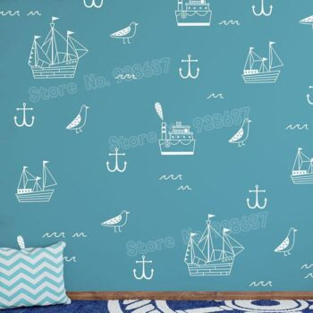 Nautical Kid Vinyl Decals Cute Anchor Wall Stickers Best Children's Lighting & Home Decor Online Store