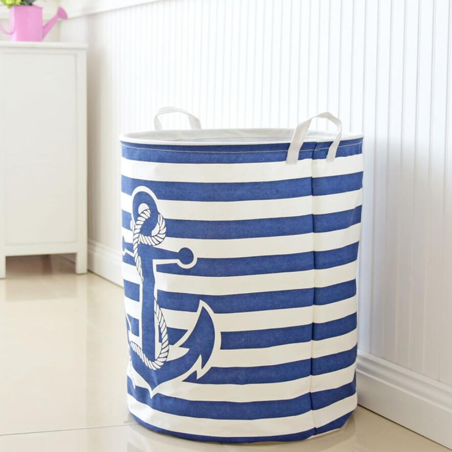 Stripe Anchor Laundry Hamper Storage Baskets Best Children's Lighting & Home Decor Online Store